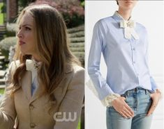 """by Kirsty0 Comments Fallon Carrington (Elizabeth Gillies) wears this blue button front shirt with white embellished bow in this episode of Dynasty, """"I Hardly Recognised You"""". It is the GUCCI Bow-embellished lace-trimmed cotton-poplin shirt."""