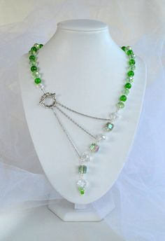 Cubic Green and Faceted Aurora Borealis Crystal Adrienne Adelle Signature Necklace