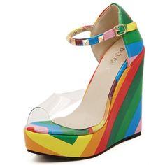 Cheap Fashion Peep Toe Colorful Print Wedge Super High Heel PU Ankle Strap Sandals_Sandals_Womens Shoes_LovelyWholesale | Wholesale Shoes,Wholesale Clothing, Cheap Clothes,Cheap Shoes Online. - LovelyWholesale.com