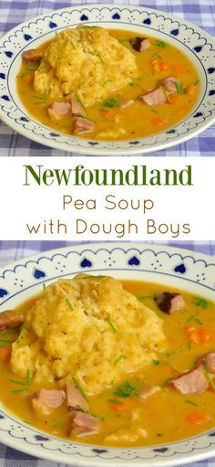 Newfoundland Pea Soup & Dough Boys - a local favourite! Traditional Newfoundland Pea Soup and Dough Boys - made with leftover ham or salt beef, it's a hearty local favourite that has warmed many a belly over the decades. Canadian Cuisine, Canadian Food, Canadian Recipes, Canadian Dishes, Canadian Culture, Rock Recipes, Game Recipes, Ham Bone Soup, Newfoundland Recipes