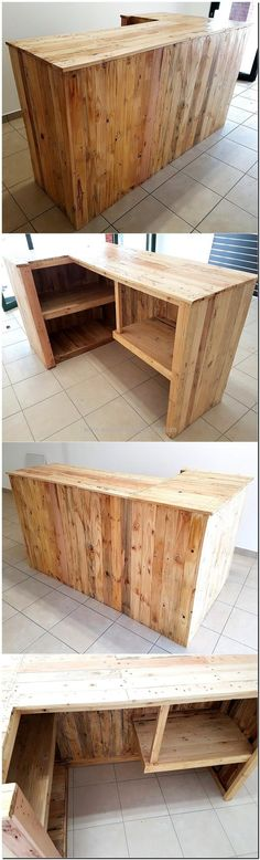 This is reclaimed wood pallet bar plan; it can be copied if a person is going to open a bar or it can be created if anyone is a drinking lover and wants an organized place to set the bottles as well as wine glasses. It is a good idea if a person wants to adorn the area attractively.