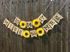 Customizable Sunflower Banner Bridal Shower Wedding