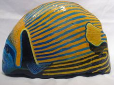 Hand Painted  Emperor Angel Fish Stone / Fine Art Rock/ Custom Animal Portraits in Acrylics / Great Gifts / Door stop / Book end on Esty