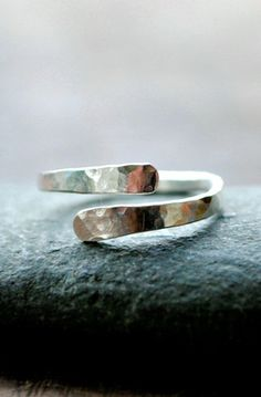 Lovely Clusters - Beautiful Shops: Hammered silver ring - Wave Collection