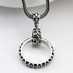"""Men's Sterling Silver France Fleur de lis Ring Pendant Necklace with Sterling Silver Wheat Chain 18""""-30"""""""