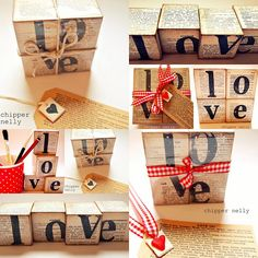 Great decorating idea! Fid old books for pennies at an old thrift store, pick up some plain wooden blocks and mod podge, give yourself and hour and you've got an amazing display of cute and creative!