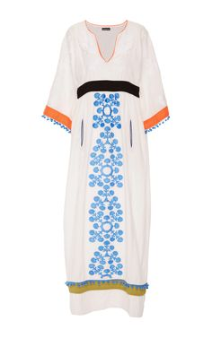 Embroidered Colorblock Caftan by CHANTIK Now Available on Moda Operandi