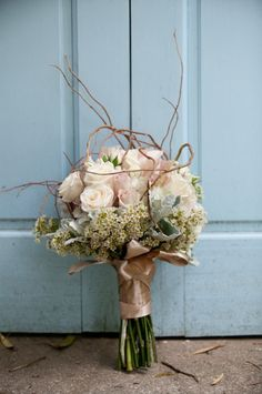 Roses, Wax Flower, Dusty Miller and Curly Willow Bouquet