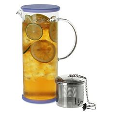 FORLIFE LUCENT Glass Iced Tea Jug with Capsule Infuser, 48-Ounce, Blueberry - http://teacoffeestore.com/forlife-lucent-glass-iced-tea-jug-with-capsule-infuser-48-ounce-blueberry/
