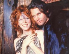 Jim Morrison of The Doors with longtime girlfriend Pamela Courson (she died April  25, 1974, at age 27 of a heroin overdose, 3 years after Morrison died on July 3, 1971, also at age 27)
