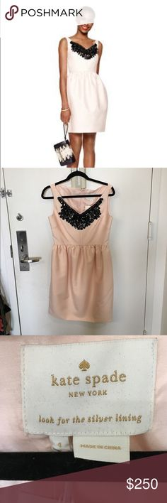 Kate Spade Pink Cupcake Dress Gorgeous light pink cupcake style dress with black beading on the neckline! Perfect party dress.  It has pockets! New with tags.  Bought on a whim and decided it's been sitting idly for too long. :) it's ready to be worn!!!! kate spade Dresses Mini