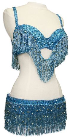 Turquoise Blue Bra and Belt Belly Dance Costume
