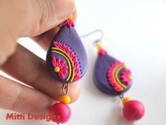 Pink flower on Purple Indian embroidery inspired OOAK polymer clay earrings by Mitti Designs