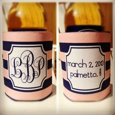 Koozies for wedding party from http://www.haymarketdesigns.com/pages/WeddingKoozies.htm#Wedding%20Koozies