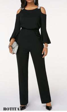 Keyhole Back Cinched Waist Cold Shoulder Black Jumpsuit .Fall wardrobe basics for ladies,check out our website,you will get fall suprise.Dressing advice that will help you dress better.New arrivals include dresses,blouse,sweaters will added everyday.#rotita