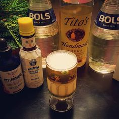 What's your holiday drink tradition?  Ours is a modified white christmas cocktail.  #titos  #bols creme de menthe  Bols creme de cacao #halfandhalf  #bittermens Xocolatl Mole #bitters #angostura bitters  #cocktailier #cocktails #holidays #christmas
