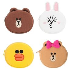Line Friends Official Goods Coin Wallet Pouch Large Brown Cony Sally Choco  #LineFriends #CoinWallet