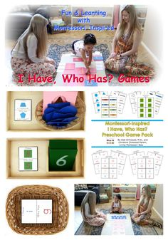 Fun I Have, Who Has? preschool games using Montessori principles and a printable pack with games for colors, shapes, counting, numbers, and letter sounds.