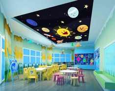 Black Universe Ceiling Wallpaper Removable Self Adhesive Wallpaper Large Peel & Stick Wallpa Daycare Setup, Daycare Design, Daycare Rooms, Home Daycare, Kindergarten Interior, Kindergarten Design, Wallpaper Space, Self Adhesive Wallpaper, Paper Wallpaper
