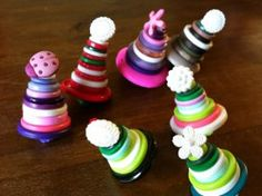 Even the littlest fingers can make these  Whimsical Button Tree Ornaments!