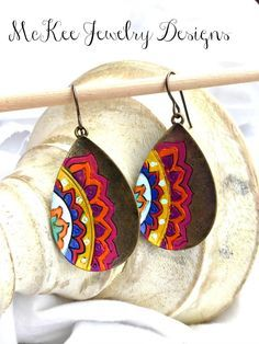 Hand painted bronze mandala flower earrings. McKee Jewelry Designs