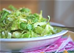 Super Simple Shredded Brussels Sprouts with Fresh Favas (or Edamame)