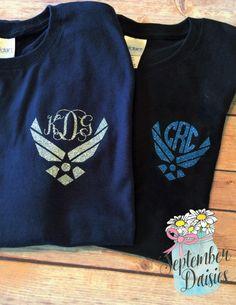 Airforce Monogram T-Shirt - Military Monogram - Air Force Monogram -Air Force Monogram Shirt - Army Monogram - Navy Monogram- Marine Mono - $17.10 USD