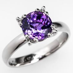 3 Carat Lab Created Purple Sapphire Engagement Ring Palladium