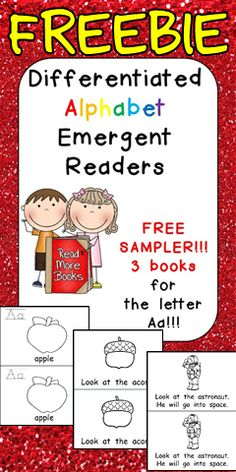 **FREEBIE **This set contains 3 different emergent readers for the letter Aa; it is a FREE sample of a larger set which contains 3 different leveled emergent readers for each letter of the alphabet.  There is a book at each of the following levels:  1. A book with a simple picture and a one-word caption  2. A book with a simple picture and one sentence of text 3. A more difficult emergent reader; the picture is the same as the other books, but two sentences of text are included on each page.