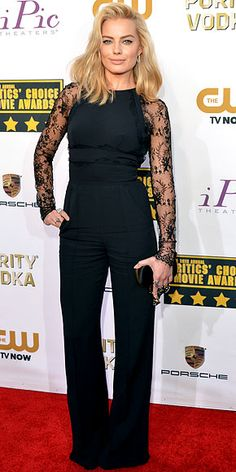 Critics' Choice: All the Glam Red Carpet Looks   MARGOT ROBBIE   These are a few of our (new) favorite things: the Wolf of Wall Street actress. Jumpsuits. Lace panels. This photo of the star in her flared Elie Saab onesie (which has a very sexy rear view) gives us a dose of all three.