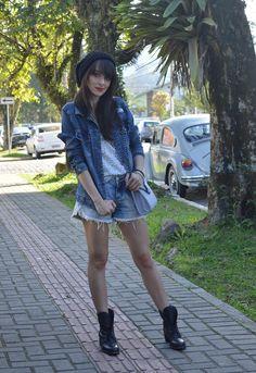 Look jaqueta e shorts jeans blog Ela Inspira  - http://www.elainspira.com.br/marchin-on-look-casual-bolsa-rosegal/