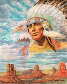Indian Chief & Eagle Native American Art Poster (16×20) http://bikeraa.com/indian-chief-eagle-native-american-art-poster-16x20/