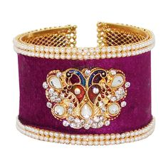 Shop Purple Alloy Austrian Diamonds Bangle 65974 online from huge collection of indian ethnic jewellery at Indianclothstore.com.