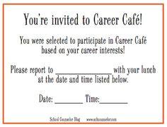 Printable Career Café pass! School Counselor Blog: Career Café: Inviting Students