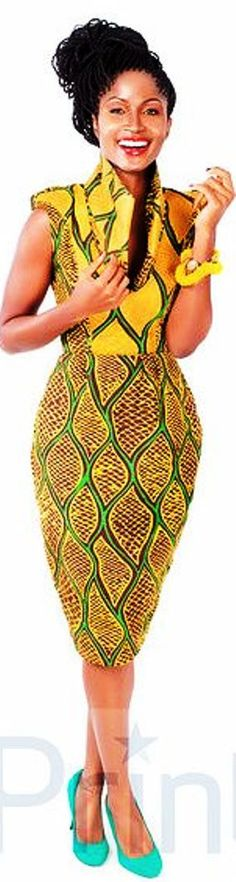 ♥African Fashion I would rock with yellow or black or matching green shoes African Inspired Fashion, African Print Fashion, Africa Fashion, Fashion Prints, Ankara Fashion, African Attire, African Wear, African Women, African Print Dresses
