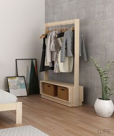 New Closet Minimalista Madera 65 Ideas Home Decor Furniture, Diy Home Decor, Furniture Design, Closet Bedroom, Bedroom Decor, Wooden Clothes Rack, Clothes Hanger Rack, Closet Layout, Closet Designs
