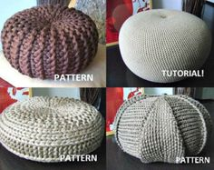 4 Knitted & Crochet Pouf Floor cushion Patterns, Crochet Pattern, Knit Pattern