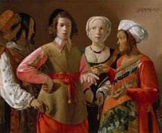 Georges de La Tour - The Fortune Teller [probably 1630s]    While an old gypsy crone tells his fortune, a naive youth is robbed by her accomplices, a subject popular among Caravaggesque painters throughout Europe in the 17th century. La Tour's painting can be interpreted as a genre or theatrical scene, or as an allusion to the parable of the prodigal son. It has been variously dated from about 1620 to as late as 1639.