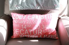 Birth Announcement Pillow - what a fun accent to the glider in the #nursery!