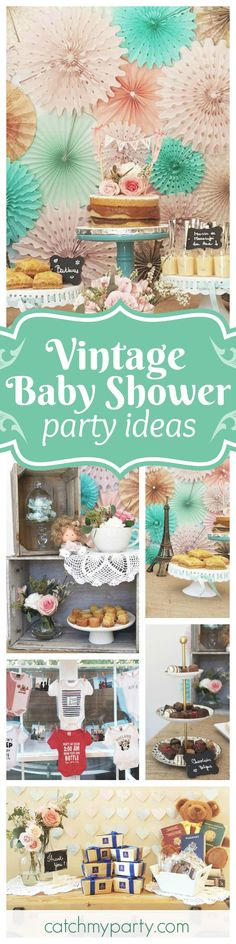 Don't miss this gorgeous vintage travel inspired Baby Shower. The backdrop and dessert table are just beautiful! See more party ideas and share yours at CatchMyParty.com