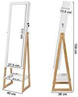 SONGMICS Armoire à Bijoux Éclairage LED, Armoire Autoportante  Verrouillable, Miroir Pleine Longueur, Style