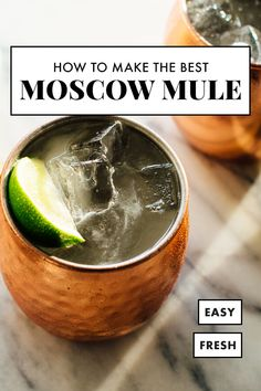 Love ordering Moscow Mules at your favorite bar? Learn how to make the BEST Moscow Mule cocktail! They're SO EASY to make at home once you know my tricks! Learn how to make the best Moscow Mule cocktail! They are so easy to make. Summer Drinks, Cocktail Drinks, Fun Drinks, Cocktail Recipes, Easy Alcoholic Drinks, Cocktail List, Cocktail Book, Recipes Dinner, Best Moscow Mule