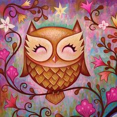 Adorable Owl painting by Jeremiah Ketner. I love this owl and the background. Wal Art, Art Mignon, Owl Illustration, Owl Cartoon, Owl Pictures, Wise Owl, Cute Images, Bird Art, Cute Art