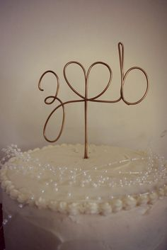 Wedding Cake Topper Custom Wire Initials by FCandCompany on Etsy