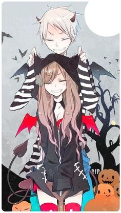 Prussia and Hungary! I love this ship. Hmm, maybe I should draw Nyotalia PruHun for Halloween like this picture?