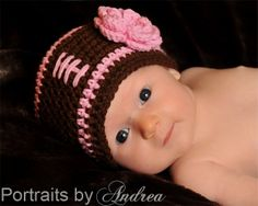 Baby Girl Newborn or 0-3 Month Pretty In Pink Football Beanie Hat with Detachable Flower - Cute Photo Prop. $15.00, via Etsy.