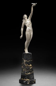 Pierre Le Faguays 'Message of Love' a small silvered bronze Figure, circa 1925.