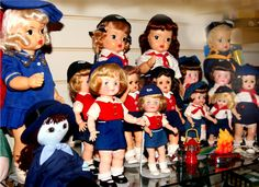 Dolls as Bluebird and Campfire Girls. Terri Lee doll on the left is dressed at a Mariner Girl Scout.     Terri Lee, Tiny Terri Lee, and Effanbee dolls.