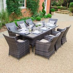 Lyon 8 Seat Rattan Dining Set - 2m x 1m Rectangular Table - Brown