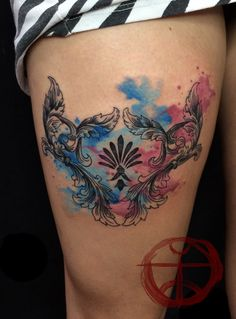watercolor baroque design by koraykaragozler on deviantART I want something like this so bad Watercolour Tattoos, Watercolor And Ink, Life Tattoos, Body Art Tattoos, Tatoos, Color Tattoos, Aperture Tattoo, Floral Tattoo Design, Floral Tattoos